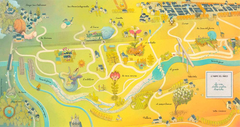 illustrazione_9_Le mappe del Parco_La via delle pietre bianche_Parco Fluviale di Cuneo