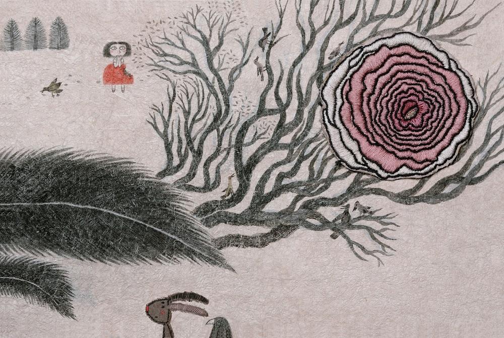 601龚燕翎_一天,千层花瓣的花朵,爱上了划过红裙的一根小树枝